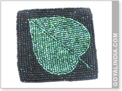 Square Beaded Coaster With Leaf