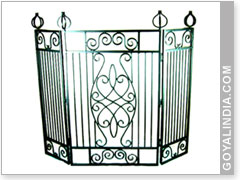 Square Frame 3 Panel Fire Screen