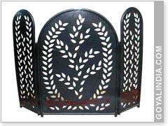 Leaf Cut Fire Screen 3 Panel