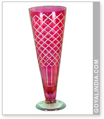 Glass Cut Work Flower Vase